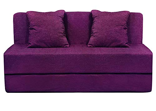 Aart Store Foam High-Density One Seater Furniture Sofa Cum Bed with 2 Cushion (3×6 ft, Magenta)