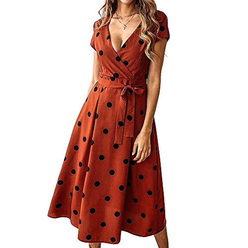Exlura Summer Vintage Polka Dot Wrap V Neck Short Sleeve Midi Dress with Belt Copper