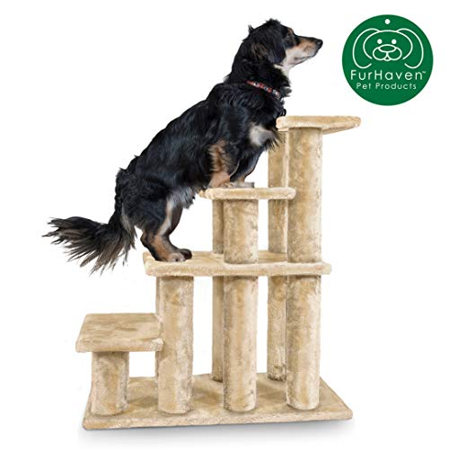 Furhaven Pet Stairs | Steady Paws Easy Multi-Step Pet Stairs Assist Ramp for Dogs & Cats, Cream, 4-Step