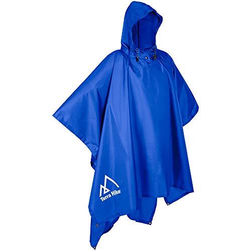 Terra Hiker Rain Poncho, Waterproof Raincoat with Hoods for Outdoor Activities