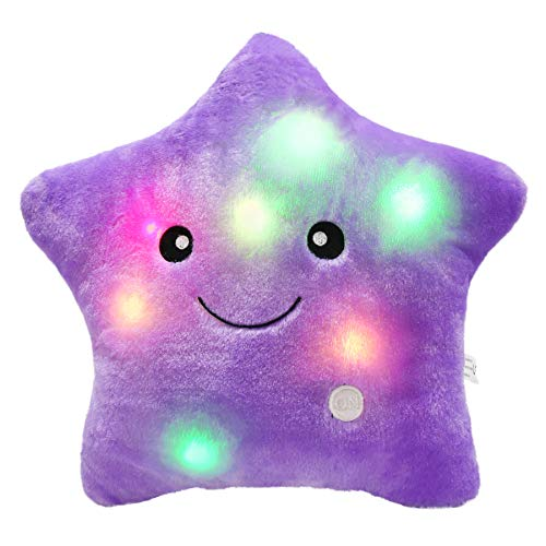 c1c6a26172 Bstaofy WEWILL Creative Twinkle Star Glowing LED Night Light Plush Pillows  Stuffed Toys (Purple)
