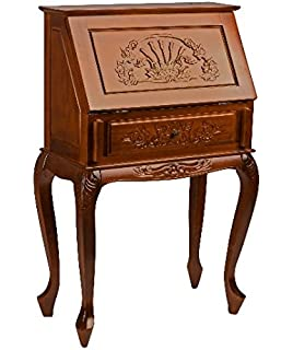 classic handcarved wood secretary desk with drawers