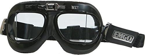 Emgo Roadhawk Vinyl Classic Split Lens Goggles Black