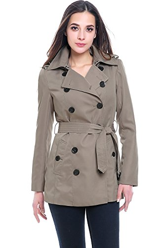 Double Breasted Womens Trench Coat - BGSD Women's Tori Waterproof Classic Hooded Short Trench Coat - Taupe M