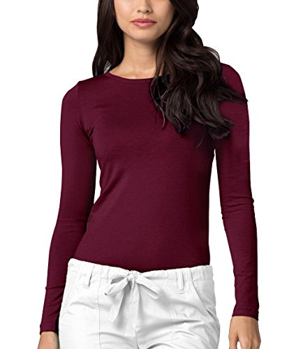 ADAR UNIFORMS Adar Womens Comfort Long Sleeve T-Shirt Underscrub Tee - 2900 - Burgundy - M by ADAR UNIFORMS