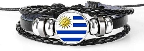 FUKAI Simple Uruguay Uzbekistán Bandera Nacional Brazalete Pulsera para Hombres Y Mujeres Joyería Regalo De Amistad para Fanáticos del Fútbol