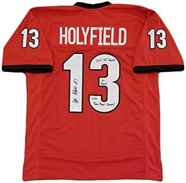 Georgia Bulldogs Signed Elijah Holyfield Custom Jersey Beckett COA RB Champs INS