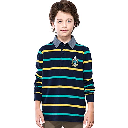- Leo&Lily Boys' Long Sleeves Striped Cardigan Rugby Polo Shirt (Multicolored Stripes,14)
