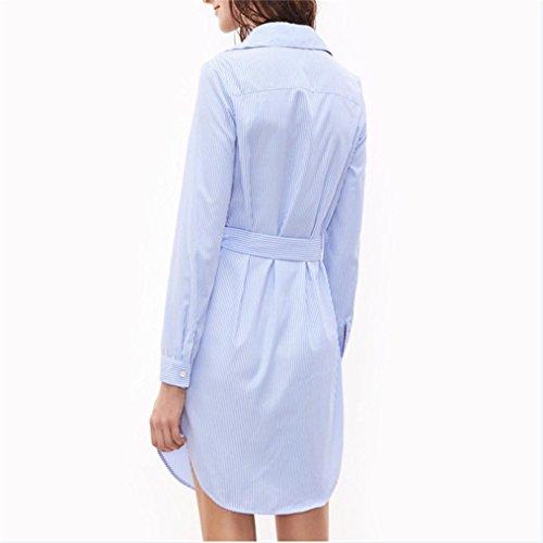 Subfamily Chaud Chemise Imprim raye Femme Robe Robe Bleu Casual Vente d't Elgante Robe rrtwdz