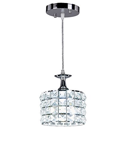 Top Lighting 1-light Chrome Finish Metal Shade Crystal Chandelier Hanging Pendant Ceiling Lamp Fixture