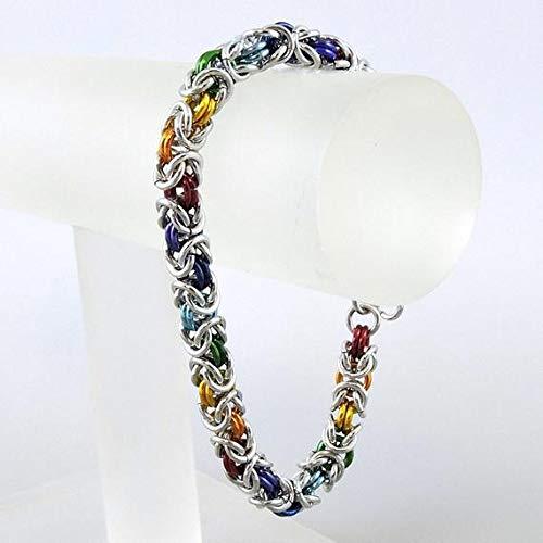 Chainmaille Bracelet Rainbow Chainmail Bracelet Byzantine Weave