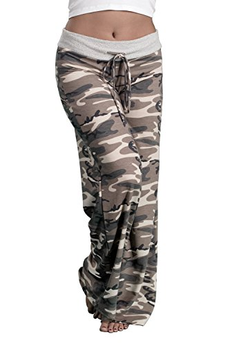 Inspire L'Amour Womens USA Made Comfy Stretch Soft Wide Leg Casual Lounge Pants (Camo, -