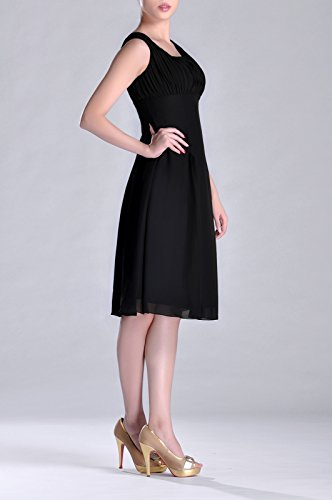 Bridesmaid of Pleated Mother Length Special Occasion Brides Dress Black Formal the Knee rpYnH4qwr