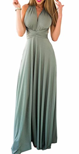 Sexyshine Women's Backless Gown Dress Multi-Way Wrap Halter Cocktail Dress Bandage Bridesmaid Long Dress (LG,S) Light Green (Dress Silk Long)