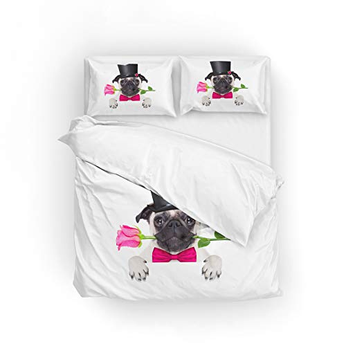 My Little Nest Duvet Cover Set Twin Size Dog with a Valentines Rose Zipper Closure with 1 Pillow Case Microfiber Comfortable Durable