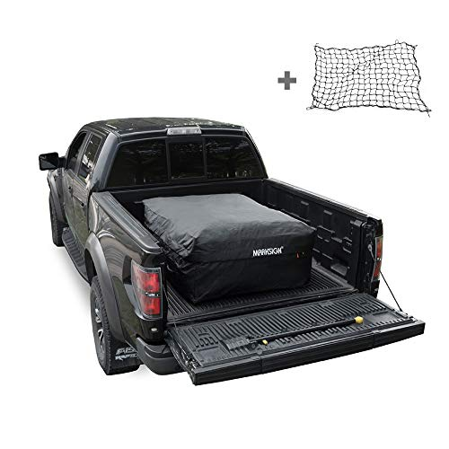 MARKSIGN 100% Waterproof Truck Cargo Bag with Cargo Net, Fits Any Truck Size, 4 Rubber Handles, 26 Cubic Feet (51''x40''x22'')