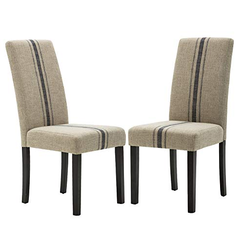 (Upholstered Stripe Dining Chair Set of 2, Beige Retro Formal Chairs with Rubber Wood Legs)