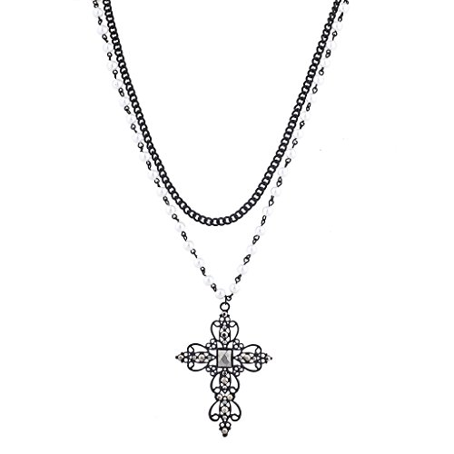 Lux Accessories Black Tone Faux Pearl Crystal Rhinestone Filigree Cross Necklace -