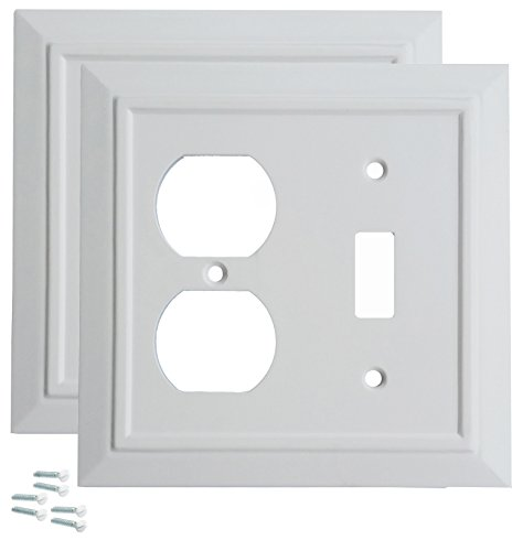 Pack of 2 Wall Plate Outlet Switch Covers by SleekLighting | Classic Architecture Wall plates| Variety of Styles: Rocker/Receptacle / Toggle / & Combo | Size: 2 Gang Toggle and Receptacle