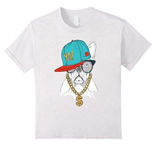 Kids Old School Hip Hop Pug Dog Shirt Dollar Sign Gold Chain Rap 10 - T-shirt Chain White