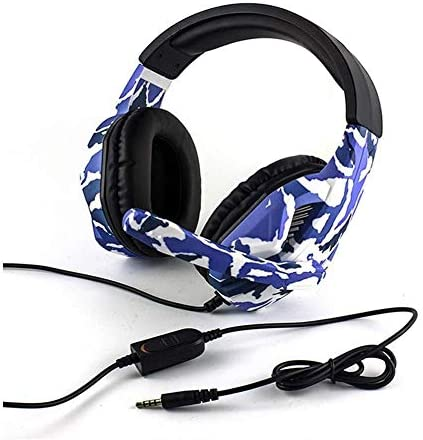 HNSYDS 迷彩ケーブルゲームヘッドセットヘッドマウント快適に着用ヘッドセットデュアルオーディオ音質のイヤーパッドで調整可能 ゲーミングヘッドセット
