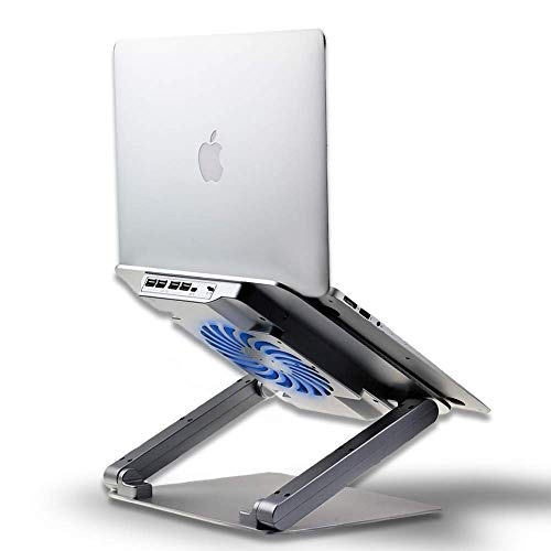 Adjustable Laptop Stand Cooler Compatible with Apple Mac MacBook Pro/Air, Cooling Pad with USB Hub for 10 to 17.3 Inch Notebook, Ergonomic for Desk Use, Aluminum Silver Soundance N16