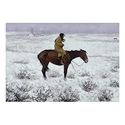 Amazing Visual, Classic Artwork, The Herd Boy by Frederic Remington American Illustrator Country Western Cowboy Culture Peel and Stick Large Wall Mural Removable Wallpaper