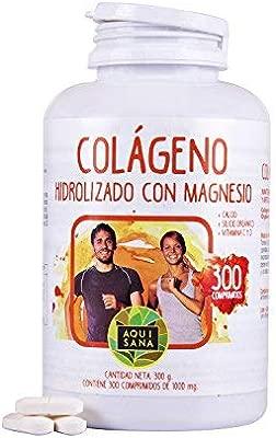 Colágeno Hidrolizado - Aquisana con Magnesio y Calcio | Vitamina C | Vitamina D| Perfecto para la piel y articulaciones -300 comprimidos