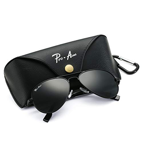 Pro Acme Polarized Aviator Sunglasses for Men and Women 100% UV Protection, 58mm (Black Frame/Black ()
