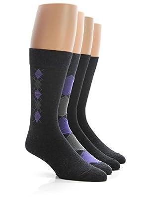 Calvin Klein Men's Argyle Crew Socks- 4 Pack