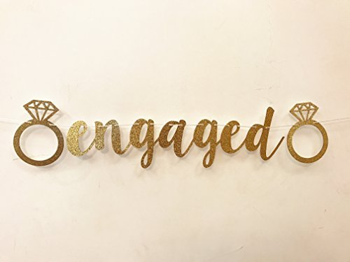 Seven YJ  Engaged Banner Gold Glittery Letters with Diamond Ring for Party  Decorations/Photo Backdrop