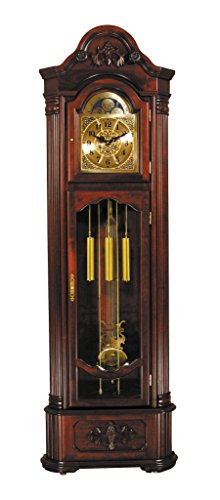 Major-Q 9001417 81 H Traditional Style Dark Walnut Finish Key Wound Mechanical Movement Grandfather Floor Clock