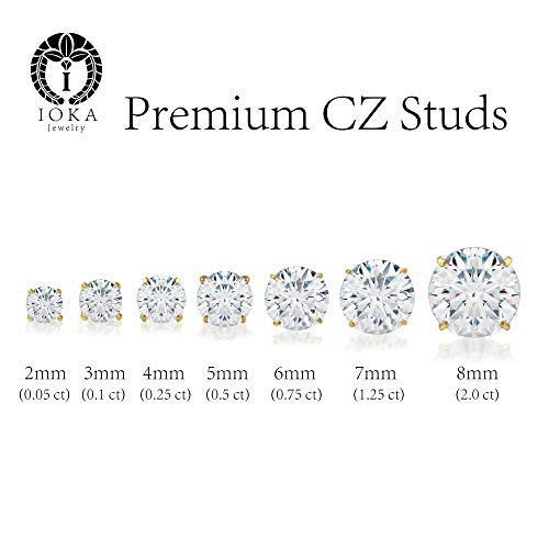 Ioka - 14K White Gold Round Solitaire Cubic Zirconia CZ Stud Screw Back Earrings - 2ct (8mm)