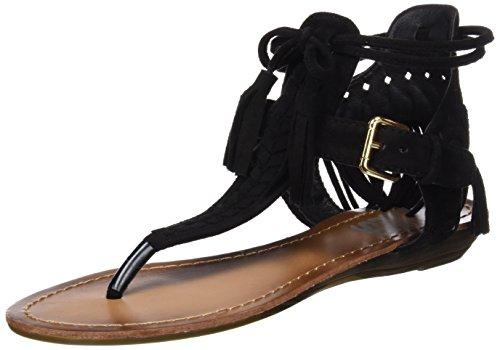 Refresh 063432, Sandalias con Punta Abierta para Mujer Negro (Black)