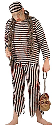 Halloween-Creepy-Scary-Convict ZOMBIE PRISONER Costume with Make up & Blood Tube - Men's Sizes SMALL-4XL (XL)