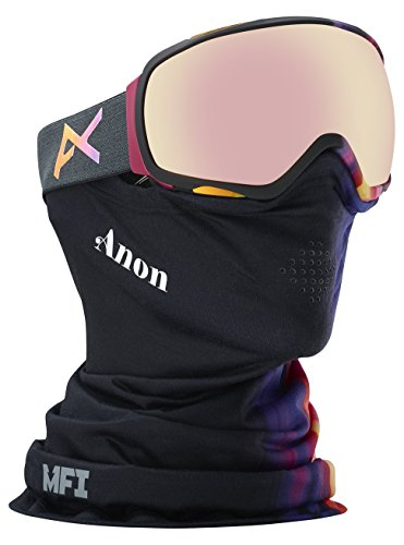 Anon Women's Asian Fit Tempest Goggle with MFI Mask, Aura Black Frame Pink Ice Lens