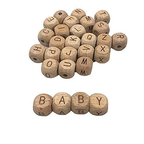 Letras de cubo de madera Espaciador Cuenta Alfabeto Cubo Cubo dados cuadrados Cuentas mezcladas 0,47 in 0,47 in 104pcs Coskiss 104pcs Mordaza de haya 12mm12mm
