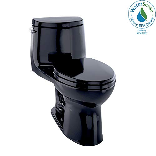 TOTO MS604114CEF#51 UltraMax II One-Piece Elongated 1.28 GPF Universal Height Toilet, Ebony Black