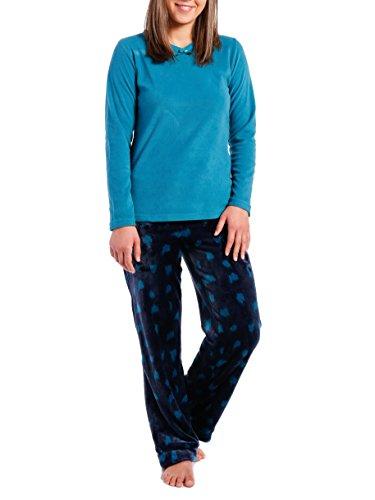 Noble Mount Homewear Conjunto Pijama de Butter Polar para Mujer Léopardo - Azul Marino/Cerceta