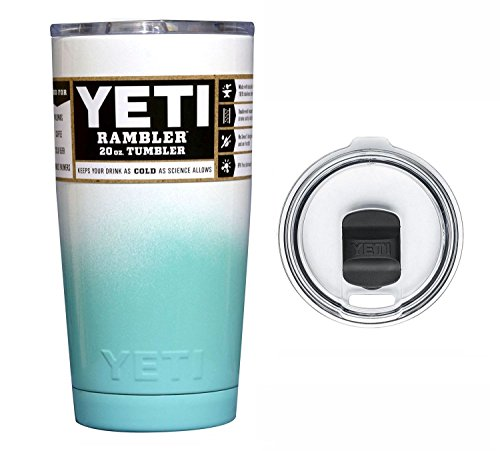 YETI Coolers Custom Rambler Tumbler Cup Mug with Exclusive Spill Resistant Lid (Seafoam White Ombre, 20 ounce) by The Twisted Cup