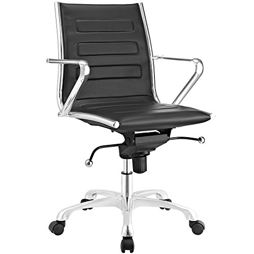 Modway Ascend Faux Leather Adjustable Swivel Office Chair in Black