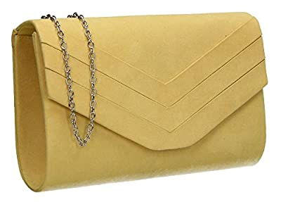 Samantha Faux Leather Suede Womens Party Prom Wedding Ladies Clutch Bag - SWANKYSWANS
