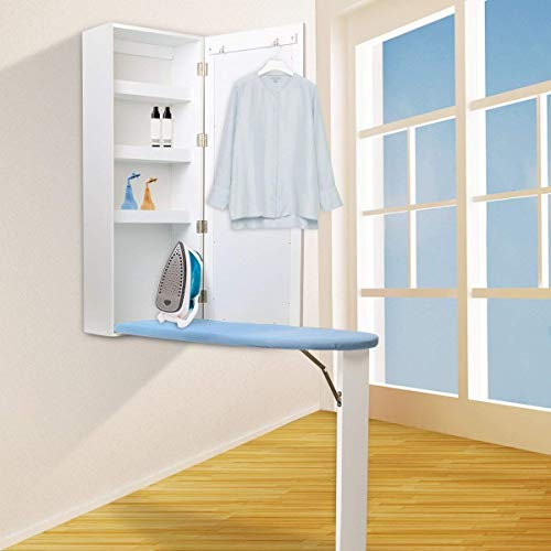 qotone Ironing Board Cabinet Wooden Wall Mounted Storage Shelves Foldable with Mirror White