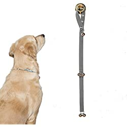 Potty Training Bells Help New Puppies & Older Dogs Learn Good House Manners | Adjustable Loop & Length Fits Every Size Dog & All Door Handles … (Gray)