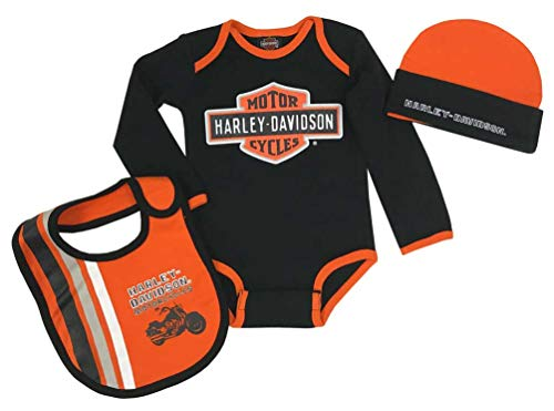 Harley-Davidson Baby Boys' Racer 3-Piece Infant Creeper, Hat