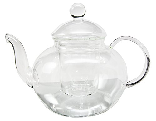 Heat Resistant Borosilicate Clear Glass Tea Pot With Tea Leaves Infuser 38oz Capacity (38 Oz Pot Coffee)