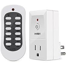 intey eléctricos Switch Control Remoto Inalámbrico y salida para electrodomésticos, hasta 100ft, Batería Incluida, 1enchufe y 1mando a distancia