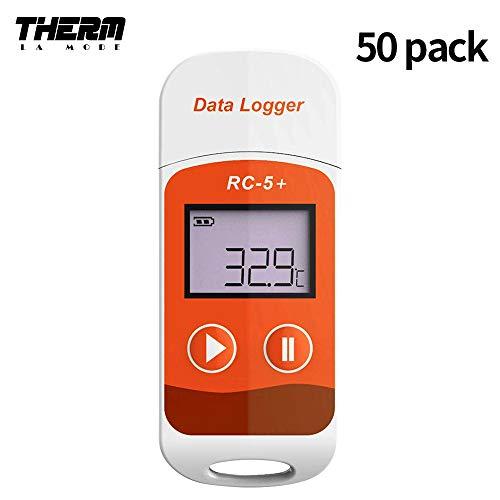 温度データーロガー デジタル温度計 RC-5+進化版 小型 USB一体型 32000ポイント LCD表示 簡単に温度を記録し、解析できるデータロガー 温度警告 レポート自動生成(50枚)