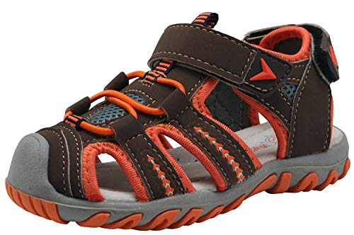 (Apakowa Kid's Boy's Soft Sole Close Toe Sport Beach Sandals (Toddler/Little Kid) (Color : Orange, Size : 12 M US Little Kid))