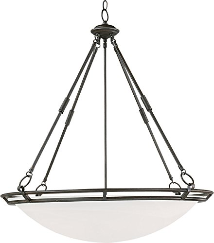 Maxim 2671MRBZ Stratus 6-Light Pendant, Bronze Finish, Marble Glass, MB Incandescent Incandescent Bulb , 60W Max., Dry Safety Rating, Standard Dimmable, Opal Glass Shade Material, Rated Lumens